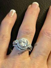 Wedding Bridal Set White Gold 3Ct Round Cut Diamond Engagement Ring