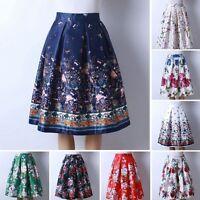 Women Summer Swing Hepburn Skirt A Line Pleated High Waist Midi Ball Gown Dress