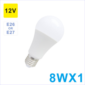 2 Pack  A19/A60 Led Bulb,12V 8W E26 Lamp Base,800lm,6000K Cool White,Low Voltage