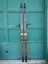 "ANTIQUE Wooden 81"" Long Skis HICKORY Signed ASNES TUR-LANGRENN + Bamboo Poles"
