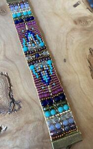 Antique Brass Turquoise Lapis Peridot czech beaded bracelet Sundance Inspired