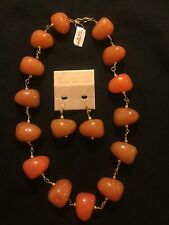 Lord & Taylor Large Amber Tones Necklace And Earrings. Vintage NWT 178.00 Retail