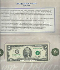 US MINT 2014 SEALED $2 DOLLAR BILL SINGLE NOTE NEW YORK SEAL FREE SHIPPING
