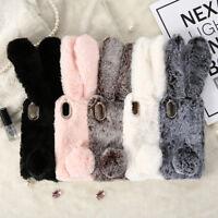 Bling Diamond Bunny Rabbit Fur Plush Fuzzy Fluffy Phone Case for iPhone XS X 8 7
