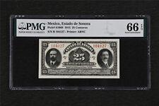 1915 Mexico Estado de Sonora 25 Centavos Pick#S1069 PMG 66 EPQ Gem UNC
