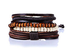 UK Leather Stack Bracelet Male Bangle Stacker Wristband for Men Guys Multi Layer