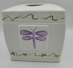 Ceramic Tissue Box Cover Holder Dragonfly Vintage Some Minor Crazing 2 Lbs