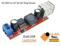 Dual USB LM2596 6V-40V To 5V 3A Double USB Charge DC-DC Step Down Converter