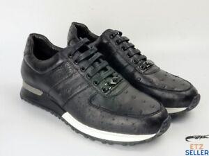 Men's Shoes Genuine Ostrich Skin Leather Handmade Black Size 11US - 44EU #2209