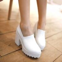 Occident Women's Slip-On Chunky High Heel Platform Pumps Round Toe Casual Shoes