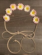 Handmade Pink Yellow Daisy Flower Halo Tie Headband Rustic Wedding Bachelorette