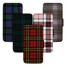 Tartan Patterns Scotland Flip Phone Case Cover Wallet - Fits Iphone 5 6 7 8 X 11