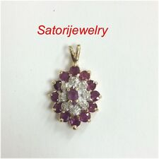 14K Solid Yellow Gold Halo Flower With Ruby And Diamonds Pendant Necklace New