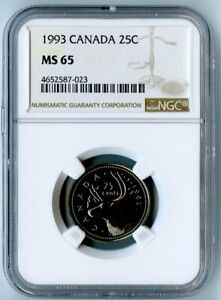 1993 CANADA NGC MS65 CARIBOU QUARTER! ONLY 6 COINS GRADED HIGHER1