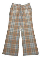 Vintage 60's 70's LEE Plaid Golf Disco Pants Flared 36x32 Talon Zipper