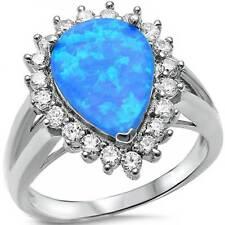 *** PEAR SHAPE BLUE LAB OPAL w/ BRILLIANT CZ BORDER_925 STERLING SILVER__SIZE 6