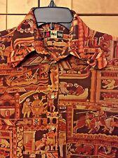 Vintage 70's Chess King Disco Men's Brown Acetate/Nylon Long Sleeve Shirt M