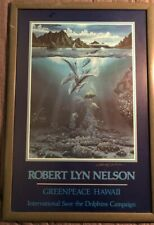 Robert Lyn Nelson SIGNED Greenpeace Hawaii Save the Dolphins Framed Poster Print