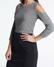 BNWT XS DAVID LAWRENCE COLD SHOULDER PASCOE PEPLUM TOP BLACK GREY KNIT $109🍍