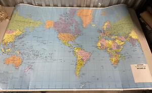 "Vintage Laminated Hammond Classic Map of the World 34""x 48"""