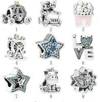 Silver Charm Mickey Minnie Car Popcorn Love Unicorn Tinker Bell Star Charms