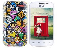 Hülle f LG L40 D160 Schutz Case Cover Tasche Bumper Silikon TPU Emoticons Comic