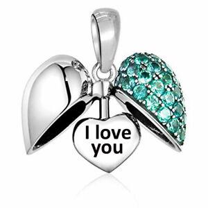 I Love You Heart Charm Aqua Crystal Bead Sterling Silver S925 - Christmas Gift