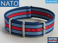 BRACELET MONTRE NATO 18mm MARTINI racing daytona pilote monaco mécanique motors