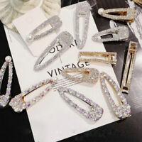Women Pearl Shining Hair Clip Gold Hairpin Slide Grips Barrette Hair Accessories