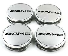 4 X Mercedes Benz 75mm Centre Wheel Caps AMG SILVER Brand New