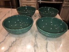 LONGABERGER WOVEN TRADITIONS IVY GREEN CEREAL/SOUP BOWLS POTTERY SET OF 4