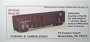 Funaro F&C HO Southern Pacific 50' A50-6/A50-5 1 1/2 Door  Autocar Kit 6560/6561