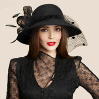 Womens Black Wool Felt Floral Veil Netting Feather Wide Brim Derby Hat A322