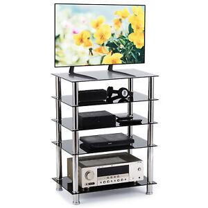 Furniture Black 5 Shelf Hi Fi Stand Rack Glass Shelves To Hold AV Separates