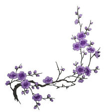 Embroidered Plum Blossom Flower Patch Iron on Applique Motif Craft Hot Purple