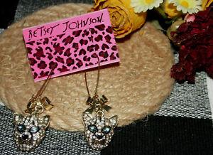Betsey Johnson ~ Leopard Wire/Dangle Earrings ~ New ~ Too Cute ~ GO #26