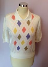 "JAEGER WHITE DIAMOND DESIGN COLLARED COTTON SHORT SLEEVE TOP SIZE 34"" APPROX S/M"