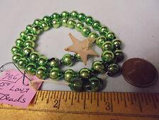 "Christmas Garland Mercury Glass Green 15"" Long 5/16"" Beads #786 Vintage"