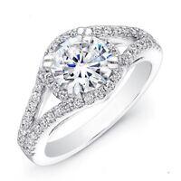 Weißgold Finish 1.34 Karat Rundschliff Diamant Verlobung Ringe 925 Silber