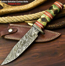 Hand Made Damascus Steel Blade Bowie Hunting Knife | Camel Bone