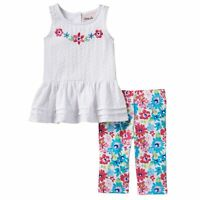 Baby Girl Little Lass Floral Eyelet Top & Capri Leggings Set -24 Months NWT
