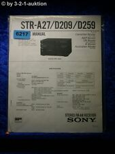 Sony Service Manual STR A27 /D209 /D259 FM/AM Receiver (#6217)