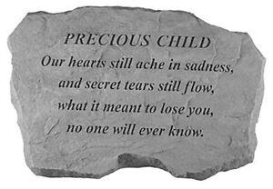 LARGE Precious Child Memorial Garden Stone Plaque Grave Marker Ornament