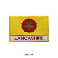 LANCASHIRE County Flag With Name Embroidered Patch Iron on Sew On Badge