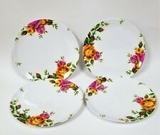 NEW ROYAL ALBERT SET OF 4 PC OLD COUNTRY ROSE,FLORAL MELAMINE,RESIN SALAD PLATE
