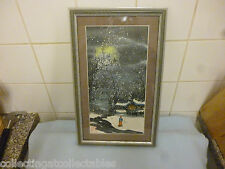 Framed Vintage Chinese Painting Of  Man Walking In Snow