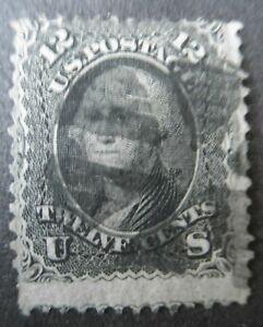US stamp 1861 Sc# 69, 12c BLACK WASHINGTON  fancy cancel used