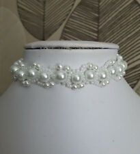 White Pearl & seed Bead CHOKER necklace BRIDAL style glass 13""
