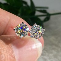 14K White Gold Over 1.00 Ct Round Cut Diamond Solitaire Stud Earrings