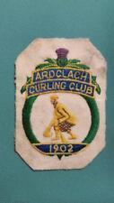 "Rare 1902 Ardclach Curling Club, Scotland, Embroidery Felt Patch 3-1/8"" x 4-1/2"""